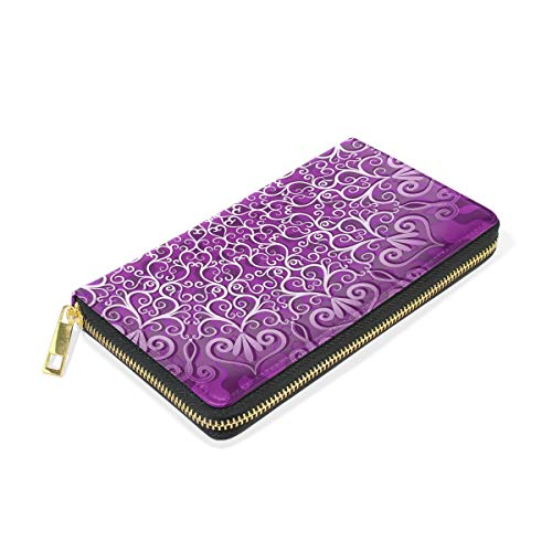 Organizer TIZORAX Purses Purple Clutch Hippie And Around Handbags Womens Zip Wallet Mandala xq4rwqCY