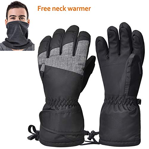 (Ski Gloves, Waterproof Winter Snow Gloves with Breathable Neck Warmer for Skiing, Snowboarding, Motorcycling, Shoveling Snow, Outdoor Sports, Gifts for Men Women, Size Run Small)