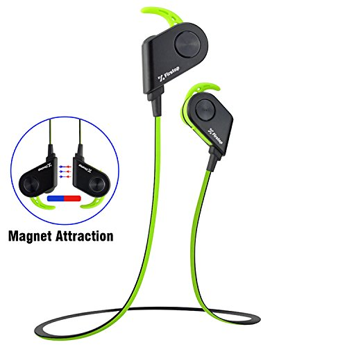 Firstop Magnetic Sweatproof Wireless Bluetooth 4.1 Earbuds Headphones with Microphone and Noise Cancelling – Green