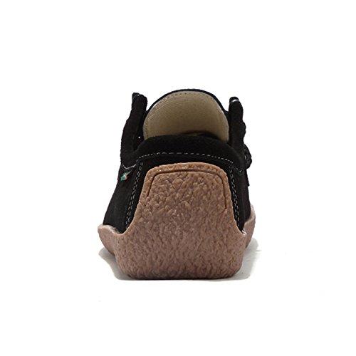Stq Kvinnor Snör Åt Upp Mockalägenheter Skor Mode Komfort Fyrkantig Tå Snigel Arbets Sneakers 806 Svarta