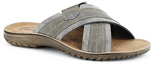 INBLU - Zapatillas de estar por casa de piel sintética para hombre gris gris 43