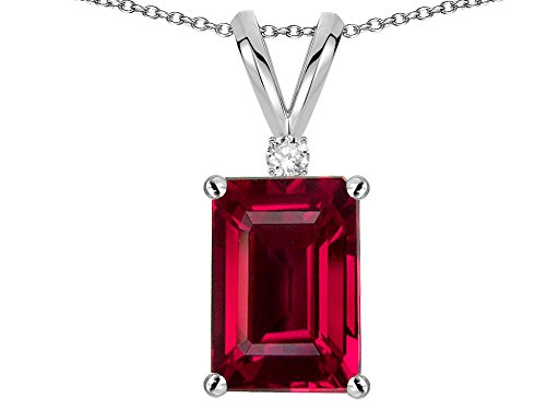 - Star K Classic Octagon Emerald Cut 8x6mm Created Ruby Pendant Necklace 10 kt White Gold