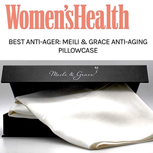 41jh2QTEVDL - Anti-Aging 100% Mulberry Silk Pillowcase by Meili & Grace-The Best Silk Pillowcase for Your Hair and Skin - Prevents Crow's Feet + Forehead Wrinkles + Fine Lines. Eliminates Hair Frizz and Tangling.
