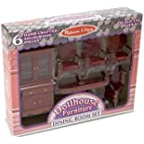 Melissa & Doug Classic Wooden Doll's House Dining Room Furniture (6 pcs) - Table, Armchairs, Hutch
