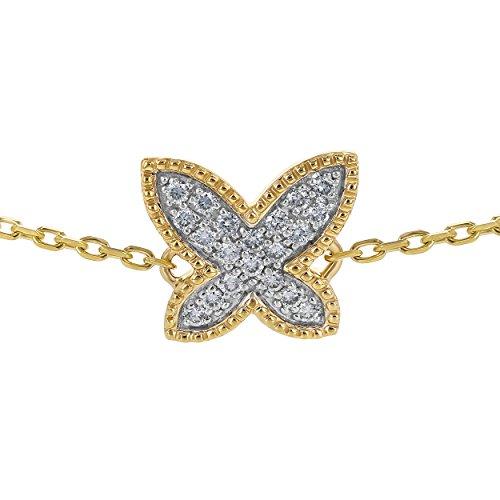 "Olivia Paris 14k Yellow Gold Diamond Butterfly Adjustable Bracelet (1/5 ctw, H-I, I1) 6.5""-7.5"""