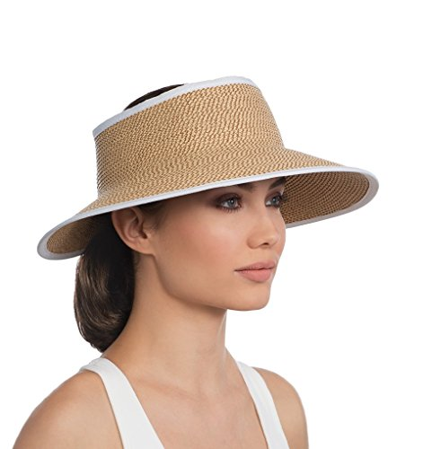 Eric Javits Luxury Fashion Designer Women's Headwear Hat - Visor Peanut - White by Eric Javits