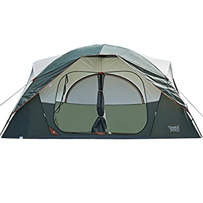 Timber Ridge Large Family Tent 10 Person 3 Seasons for Camping with Carry Bag and Rain Flysheet, 2 Rooms