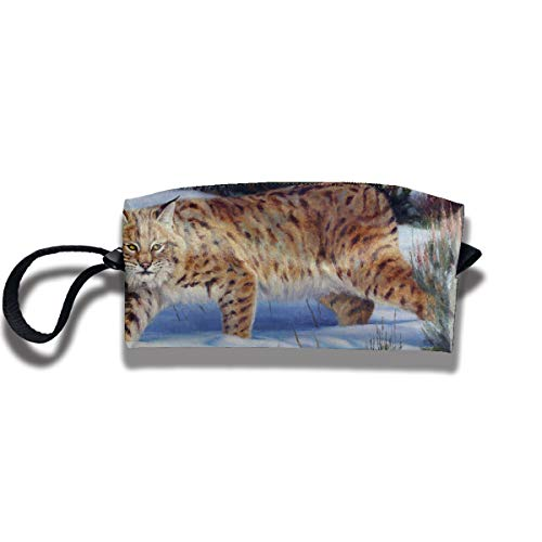 Cosmetic Bags With Zipper Makeup Bag Snow Day Tiger Middle Wallet Hangbag Wristlet Holder -