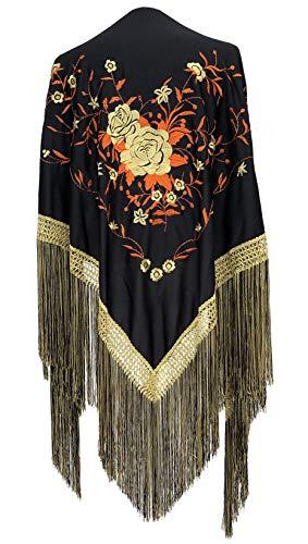 La Senorita Spanish Flamenco Dance Shawl Black Gold Orange With Golden Fringes Large