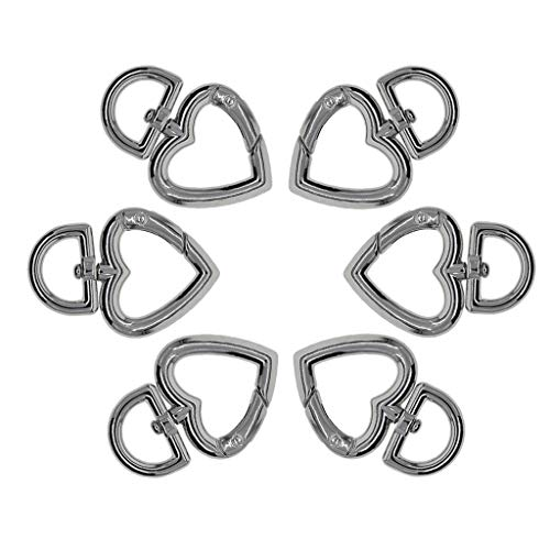 CUTICATE 6pcs Love Heart Swivel Clasps -Snap Hooks -Key Chain Key Holder/Organizer, Bag Buckle, Multifunction Daily Necessities