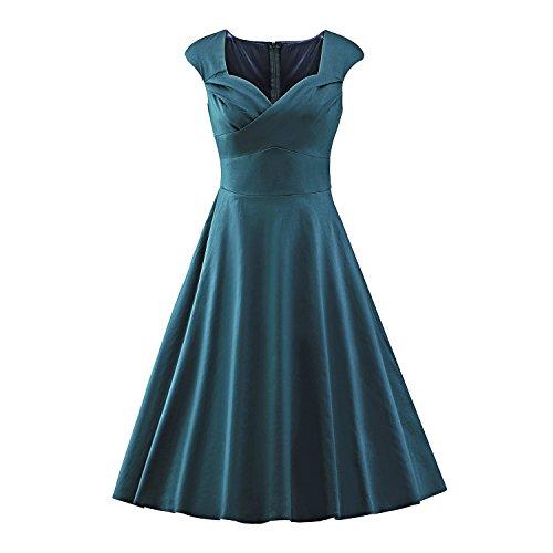 LUOUSE Vintage 1950's Audrey Hepburn pin-up robe de soirée cocktail, style halter années 50 à pois