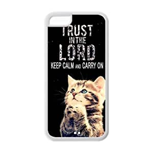 Apple Iphone 5C Case Cover TPU Bible quote Camo Fashion Funny Cute Cat Keep Calm and Carry on trust in the lord