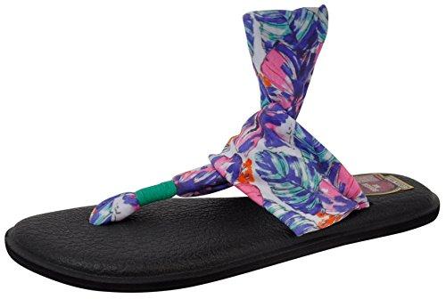 Sanuk Yoga Sling 29418275 Damen Zehentrenner Hot Turquoise Painted Hibiscus