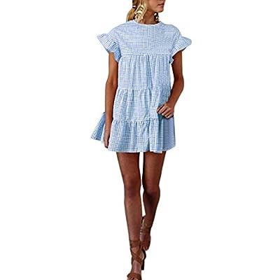 Kangma Women Ladies Summer Plaid Printing Round Neck Short Sleeve Casual Mini Dress