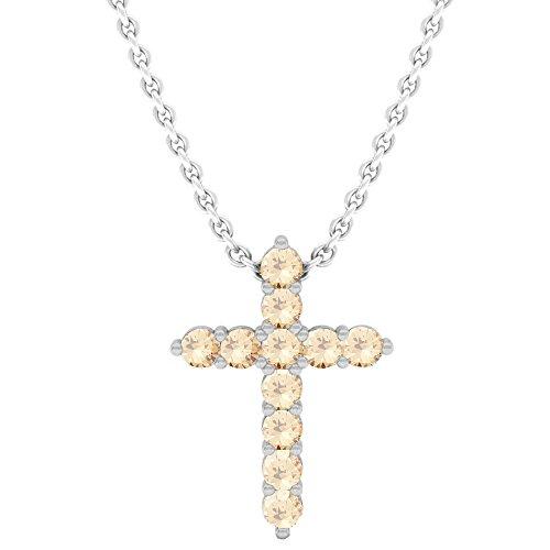 Dazzlingrock Collection 0.45 Carat (Ctw) 14K Champagne Diamond Ladies Cross Pendant 1/2 CT, White Gold