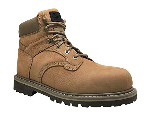 (Overstone Men's 6'' Steel Toe Leather Work Boot, Electric Hazard Protection, Industrial and Construction Work Boots (10.5, Wheat))