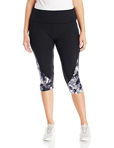 Marika Women's Plus Size Pieced High Rise Capri Legging Black Iris 3X [並行輸入品]
