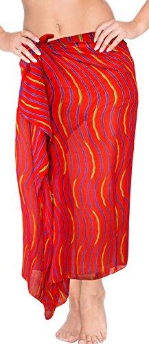 LA LEELA Robe de Maillots de Bain Maillot de Bain Beachwear Wrap Bikini Couvrir Bain Jupe Costume chale Rouge_h511