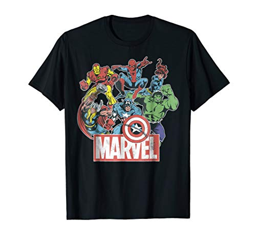 Marvel Avengers Team Retro Comic Vintage Graphic T-Shirt ()