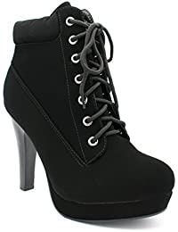 Top Moda Polish Military Lace up Platform Chunky High Heel Ankle Booties