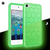 Fintie Silicone Case for iPod Touch 7 iPod Touch 6 iPod Touch 5 - (Honey Comb Series) Impact Shockproof Anti Slip Soft Protective Cover for iPod Touch 7th 6th 5th, Green-Glow in The Dark