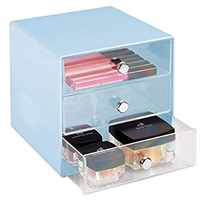 mDesign Plastic Makeup Organizer Storage Station Cube, 3 Drawers for Bathroom Vanity, Cabinet, Countertops - Holds Lip Gloss, Eyeshadow Palettes, Brushes, Blush, Mascara - Light Blue/Clear - EASY ORGANIZATION: This storage unit provides plenty of space to store and organize your beauty essentials and go-to products; Store magnetic eyelashes, curlers, tweezers, lipstick, lip pencils, lip liner, eye shadows, eyeliner, contour palettes, kits, blush palettes, face powder, and lip balm; Keep nail polish and accessories neatly contained; Face creams, sheet masks and more can all be organized keeping your vanity or bathroom countertops neat and tidy SPACE SAVING: Stack organizers to create vertical, space-saving storage; Use side-by-side to make a custom storage solution that fits your needs; Perfect for making the most out of your space; Decorative knobs make opening and closing drawers simple and easy FUNCTIONAL & VERSATILE: Works well on makeup tables, vanities, table tops, counters, in cabinets, pantry, and more; Great for small spaces - dorms, apartments, condos, RVs, and campers; Use throughout the home to add storage wherever you need it - try in bathroom, laundry/utility room, home office, craft room, kids room, bedroom, closet, vanity; Organizers make it easy to organize small or crowded kitchen spaces and keep clutter away - organizers, bathroom-accessories, bathroom - 41jh5J0kutL. SS400  -