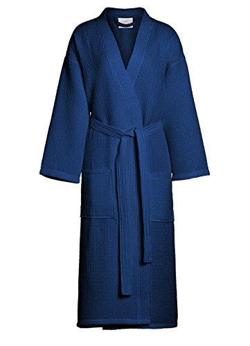 Men's Waffle Kimono Bathrobe Square Pattern - Spa Robe (XX-Large, (Long Waffle)