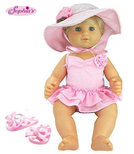 3 Pc Set, 15 Inch Doll Clothes, Light Pink Flip Flops, Polka Dot Hat, Ballet Bathing Suit | Gift Bag Included for Bitty Baby Dolls & More!