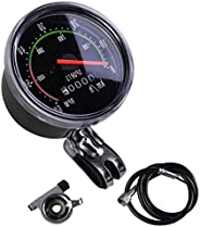 Bicycle Speedometer Mechanical Speedometer Red Pointer 0-60km/h Suitable for 26 28 29 27.5 Inch Bicycles (Blac