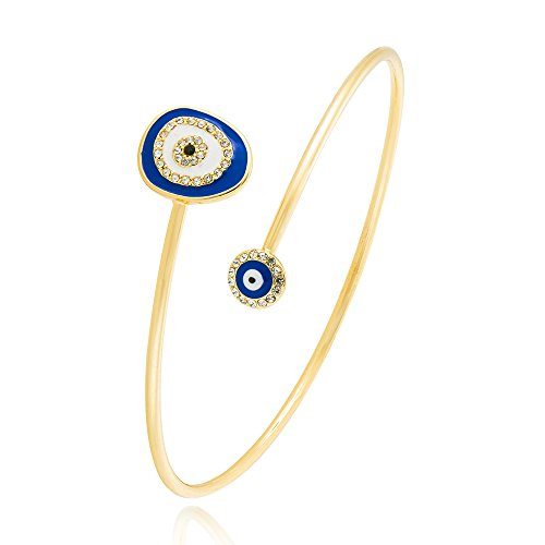 TUSHUO Round Cookie Monster Arm Bangle Enamel Evil Eyes Open Arm Bracelet Upper Armlet Armband (Gold 1)