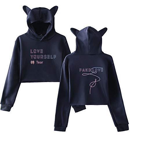 Semplice di LOVE BTS Felpe con Hoodie Cute cappuccio Orecchie gatto FAKE Allentato Aivosen Comode sportive Donna Casual Breve Moda Sweatshirts Felpe ngxWqa