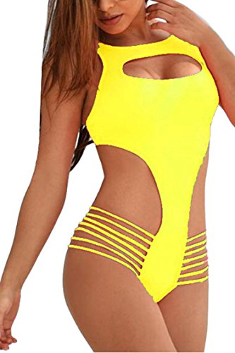 Viottis Women's Bandage Backless No Pad One-piece Swimsuit Monokini Yellow L