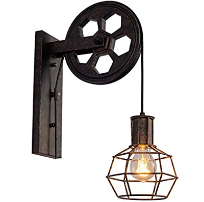 JKLcom 1 Light Wall Sconce Industrial Retro Iron Wall Lamp Creative Personality Lift Pulley Wall Lamp Lights Fixture for Home Restaurant Bar Dining Room Kitchen,Rust Finished(Bulb Not Included)