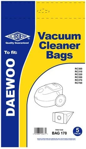 Electruepart Daewoo VCB300 Type Vacuum Cleaner Hoover Dust Paper Bags for RC300 RC310 RC320 RC350 RC370 RC700 (Pack of 5)