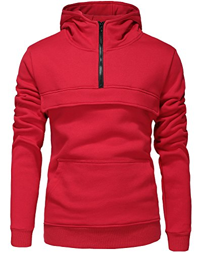 Men's Pullover Fleece Hoodie Lightweight Jacket Hooded Sweatshirt Half Zip Coat Red X-Large (Hoody Thermal Lined)