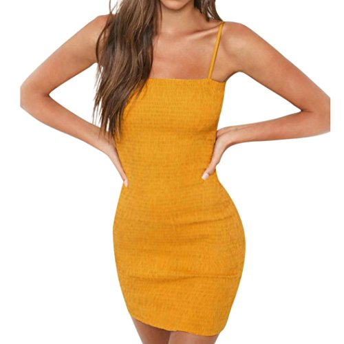 Yellow Women Kolylong Party Holiday M Mini Sleeveless Yellow Dress Strap Slim Sexy Dress qar4dOq7HW