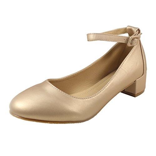 Nova Utopia Women's Ankle Strap Low Heel Dress Pump Shoes,NFLH01 Natural 8