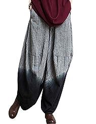 Yolee Women's Big Crotch Cotton Linen Wide Leg Trousers