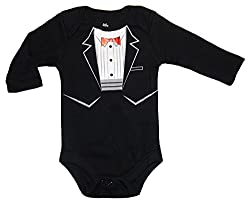 Black Suit & Red Tie / Tuxedo Baby Boys' Bodysuit Dress Up Outfit (18 Months)