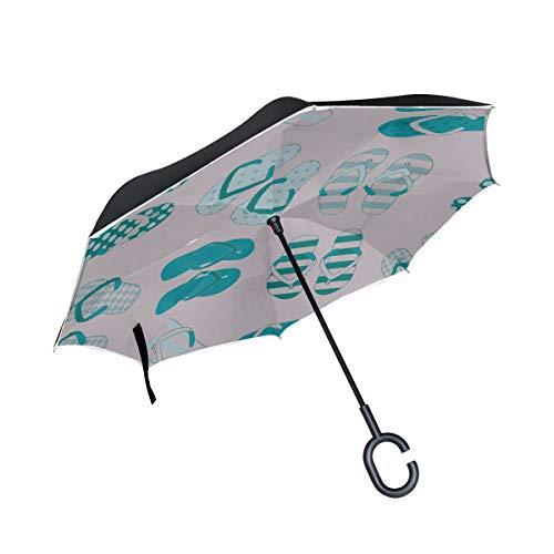 Paraguas invertido a Prueba de Viento de Doble Capa Paraguas invertido de Colores Lindos Paraguas invertido Plegable Paraguas de Viaje inverso Proteccion a Prueba de Viento para la Lluvia con manija