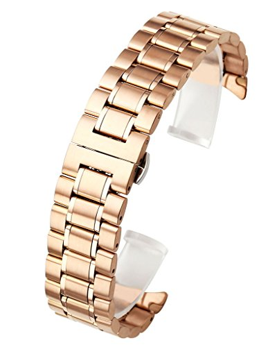 Solid Rose Gold Watch (Top Plaza 22mm Rose Gold Solid Stainless Steel Curved End Link Bracelet Wrist Watch Band Strap Replacement Double Push Spring Butterfly Deployment Clasp Strap Fits Round Watch Case)
