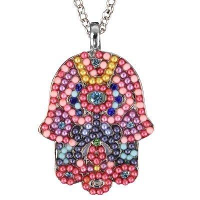 Emanuel Yair Large Hamsa Necklace & Chain - Multi Colored Crystals & Beads (Large Hamsa Necklace)