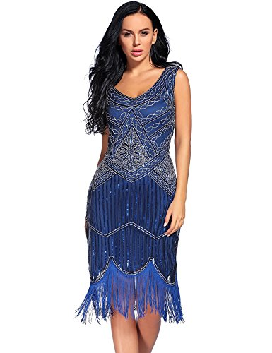 Flapper Girl Women's Vintage 1920s Sequin Beaded Tassels Hem Flapper Dress (XXL, Blue) from Flapper Girl