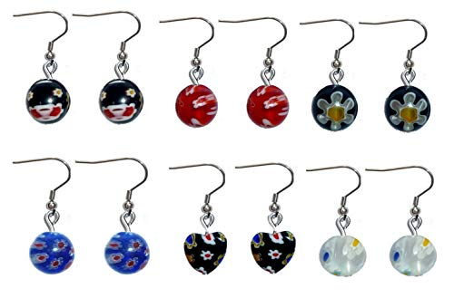 Cat Eye Beaded Charms - Beaded Dangle Earrings, Surgical Stainless Steel French wire Women's Sets of beaded earrings in Gift Box. (6 Sets of Millefori Bead Earrings)
