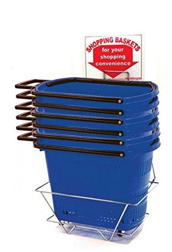 Grocery Shopping Easy Pull Rolling Basket Retail Display Store Fixture Blue Lot of 6 New by Bentley's Display