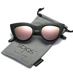 SojoS Retro Vintage Cateye Sunglasses for Women Plastic Frame Mirrored Lens SJ2939 With Matt Black Frame/Pink Mirrored Lens