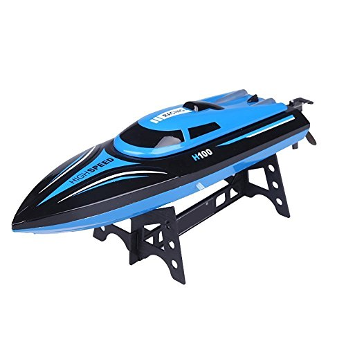 DeXop Remote Control Boat Rc Boat H100 2.4Ghz 4CH Remote Control Electric Racing Boat High Speed Boats with LCD Screen for Adults & Kids (Only Works in Water)