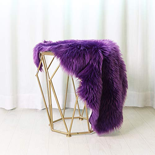 (LEEVAN Sheepskin Rug Faux Fur Rug Super Soft Fluffy Chair Cover Sofa Seat Cover Shaggy Floor Mat Carpet(Purple,2 ft x 3)