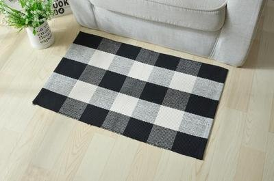 (Ecoshome Cotton Bath Runner Checkered Plaid Area Rug Door Mat for Entry Way Washable Carpet for Kitchen (24