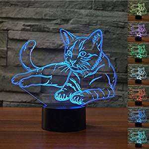 3D Lovely Cat Animal Night Light Table Desk Optical Illusion Lamps 7 Color Changing Lights LED Table Lamp Xmas Home Love Brithday Children Kids Decor Toy Gift by MOLLY HIESON